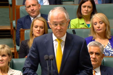 Prime MInister Turnbull in parliament