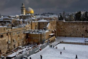 Wailing Wall in the snow
