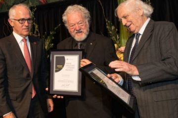 Sam Lipski (centre) and Geoffrey Blainey (right) receiving their awards from Prime Minister Malcolm Turnbull.