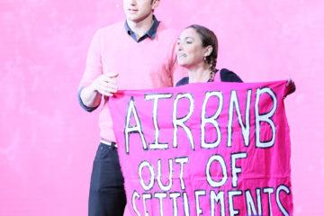 Ashton Kutcher and protester