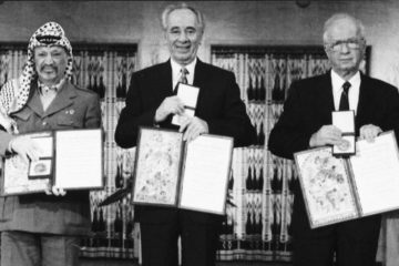 Arafat, Rabin and Peres at the Nobel Peace Prize ceremony