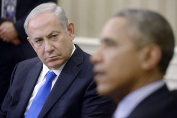 Netanyahu looking at Obama