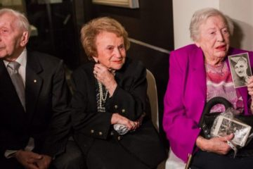 Holocaust survivors at exhibition opening