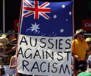 anti racism banner at the cricket