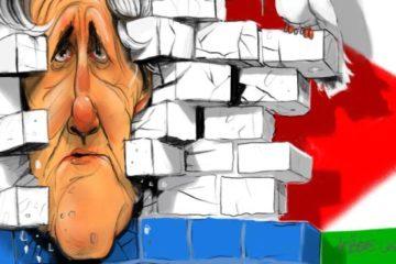 cartoon of Kerry's head breaking through Israeli wall