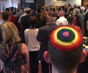 worshippers at the Pride Shabbat in Temple Beth Israel