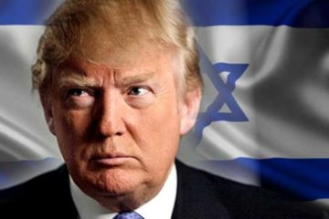 Donald Trump in front of an Israeli flag