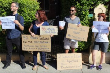 protesters against Prime Minister Netanyahu in Sydney