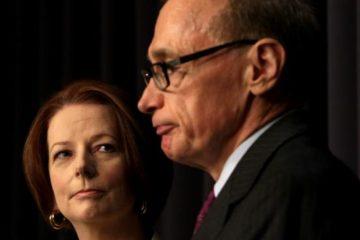 Then Prime Minister Julia Gillard with Bob Carr
