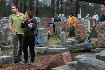 The cemetery with desecrated gravestones