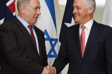 Prime Ministers Netanyahu and Turnbull shaking hands in Australia