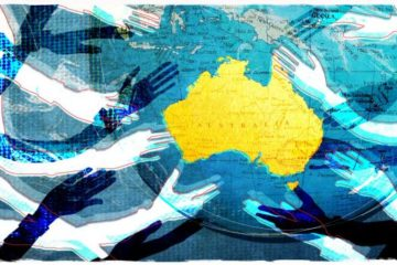 illustration of world map with hands reaching for Australia