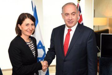 Premier Gladys Berejiklian shakes hands with Israel's Prime Minister Benjamin Netanyahu in Sydney