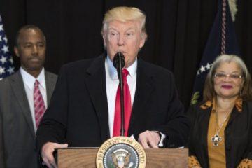 President Trump at the podium