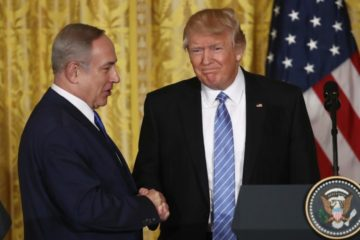 President Trump and Prime Minister Netanyahu shaking hands