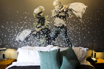 mural in bedroom of hotel