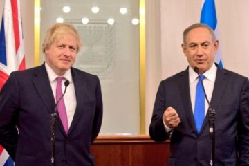 Boris Johnson and Netanyahu at a press conference in Israel