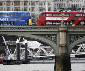 buses crossing the Thames in London