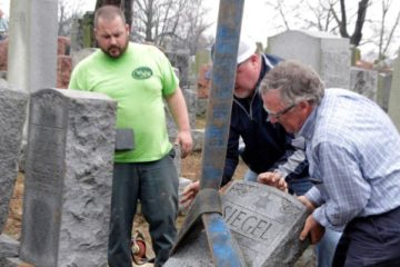 cleaning up at a Jewish cemetery