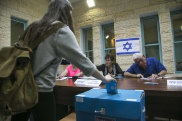 Israeli casting a vote in an election