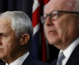 Prime Minister Malcolm Turnbull and Attorney-General George Brandis at press conference