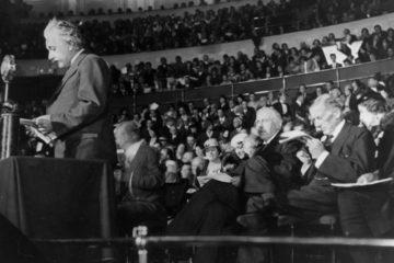 Einstein at the podium
