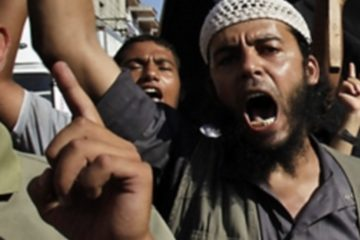 Palestinian mob shouting