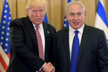 trump shaking bibi's hand vigorously