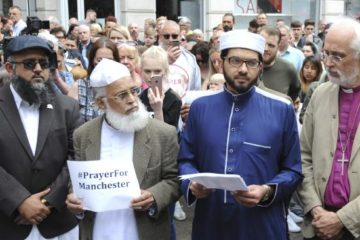 leaders from all faiths together at Manchester solidarity rally