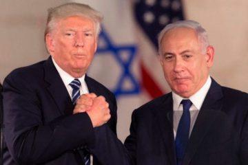 Trump and Bibi grasping hands in Israel