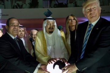 Trump and the saudis with their hand on the orb