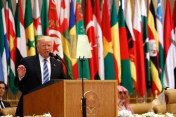 Trump at podium in Saudia Arabia