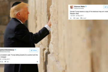 Trump at the kotel with twitter feed