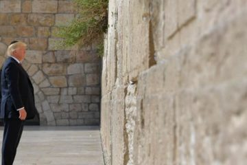 trump standing at the kotel alone
