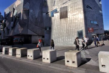 bollards in place outside Fed Square
