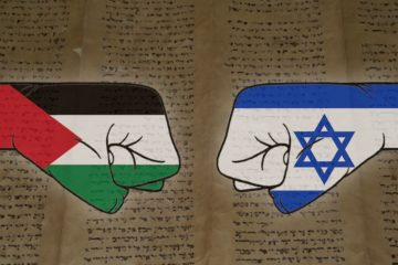 cartoon palestinian and israeli fists facing each other over a scroll