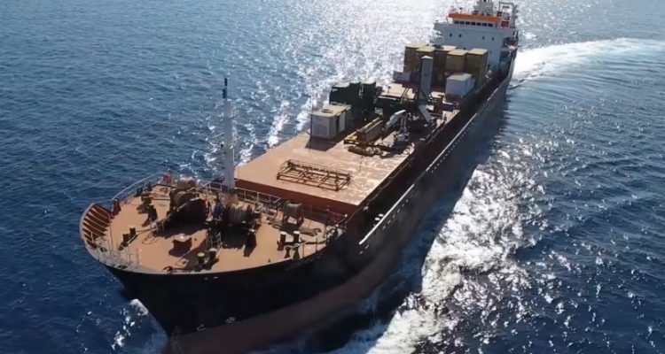 cargo ship with missile in a shipping container