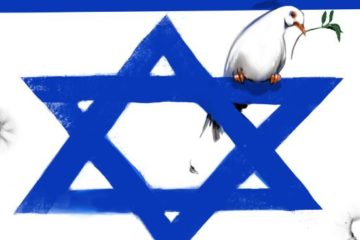 illustration of israeli flag with peace dove sitting on the magen david, and bullet holes