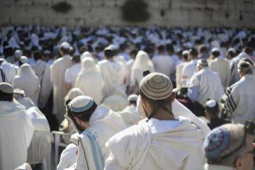 men praying at kotel