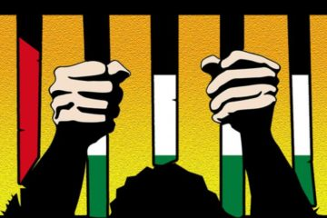 cartoon of hands on prison bars in palestinian colours