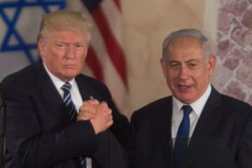 Trump and Bibi clasping hands in Israel