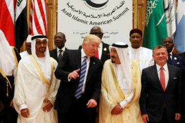 Trump surrounded by arab leaders at summit