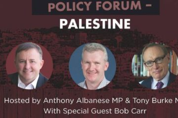 poster for labor policy forum on palestine with photos of albanese carr and burke