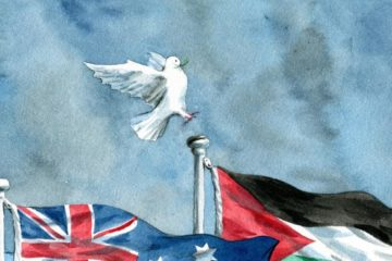 dove about to land on palestinan flag pole with australian flag in front. illustration