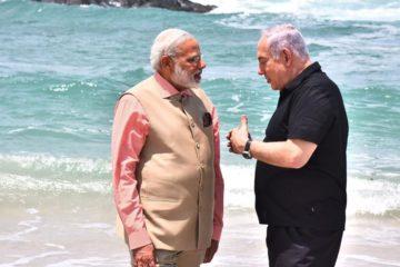 Modi and Bibi talking on the beach