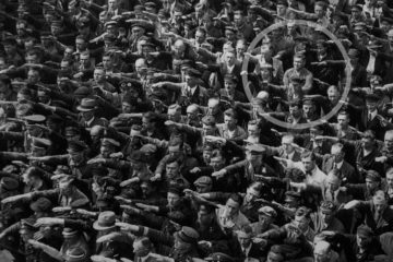 Crowd all saluting Hitler except for one man