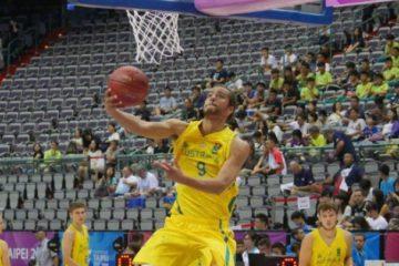 aussie basketballer doing a lay up