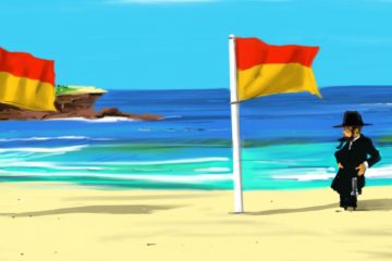 cartoon jewish man standing outside the flags on the beach
