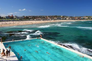 view of Bondi beach with the beach pool in the foreground