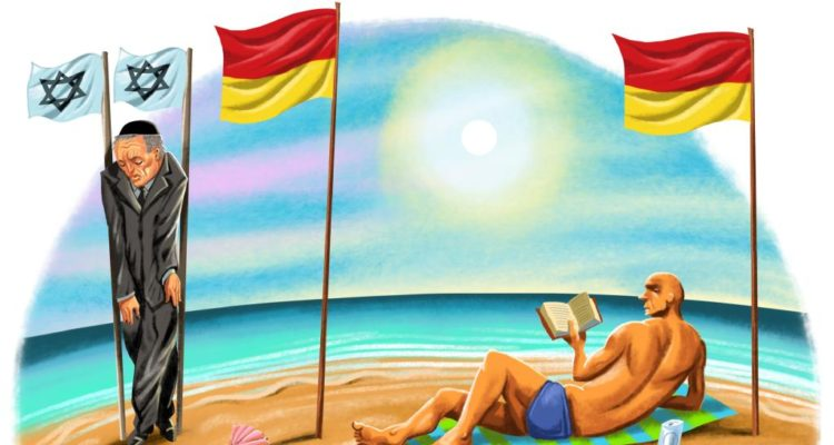 cartoon of jew squeezed between two tiny flags on bondi beach whilst someone else spreads out between normal lifesaving flags